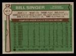1976 Topps #411  Bill Singer  Back Thumbnail