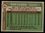 1976 Topps #400  Rod Carew  Back Thumbnail