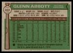 1976 Topps #322  Glenn Abbott  Back Thumbnail