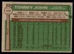 1976 Topps #416  Tommy John  Back Thumbnail