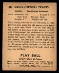 1941 Play Ball #48  Cecil Travis  Back Thumbnail
