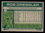 1977 Topps #11  Rob Dressler  Back Thumbnail
