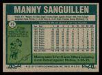 1977 Topps #61  Manny Sanguillen  Back Thumbnail