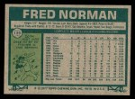 1977 Topps #139  Fred Norman  Back Thumbnail