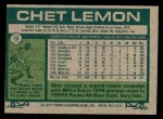 1977 Topps #58  Chet Lemon  Back Thumbnail