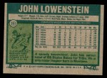 1977 Topps #393  John Lowenstein  Back Thumbnail