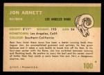 1961 Fleer #100  Jon Arnett  Back Thumbnail