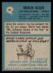1964 Philadelphia #91  Merlin Olsen   Back Thumbnail