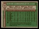 1976 Topps #409  Dave Lemanczyk  Back Thumbnail