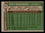 1976 Topps #296  Pat Dobson  Back Thumbnail