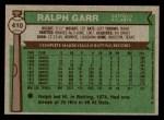 1976 Topps #410  Ralph Garr  Back Thumbnail