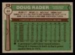 1976 Topps #44  Doug Rader  Back Thumbnail