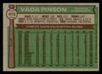 1976 Topps #415  Vada Pinson  Back Thumbnail