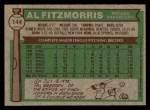 1976 Topps #144  Al Fitzmorris  Back Thumbnail