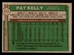 1976 Topps #212  Pat Kelly  Back Thumbnail