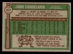 1976 Topps #317  John Candelaria  Back Thumbnail