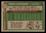 1976 Topps #572  Rich Coggins  Back Thumbnail