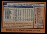 1978 Topps #127  Chet Lemon  Back Thumbnail