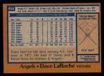 1978 Topps #454  Dave LaRoche  Back Thumbnail