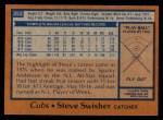 1978 Topps #252  Steve Swisher  Back Thumbnail