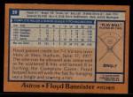 1978 Topps #39  Floyd Bannister  Back Thumbnail