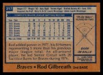 1978 Topps #217  Rod Gilbreath  Back Thumbnail