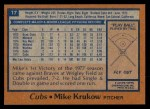 1978 Topps #17  Mike Krukow  Back Thumbnail