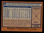 1978 Topps #337  Tom Grieve  Back Thumbnail