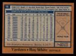 1978 Topps #16  Roy White  Back Thumbnail