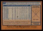 1978 Topps #678  Tom Burgmeier  Back Thumbnail