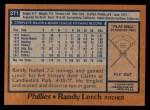 1978 Topps #271  Randy Lerch  Back Thumbnail