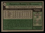 1979 Topps #369 COR Bump Wills  Back Thumbnail