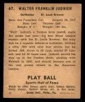 1941 Play Ball #67  Walter Judnich  Back Thumbnail