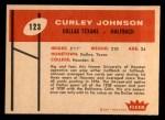 1960 Fleer #123  Curley Johnson  Back Thumbnail