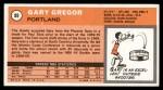 1970 Topps #89  Gary Gregor   Back Thumbnail