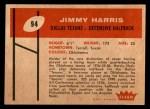 1960 Fleer #94  Jimmy Harris  Back Thumbnail