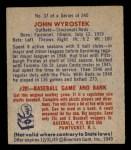 1949 Bowman #37  John Wyrostek  Back Thumbnail