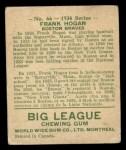 1934 World Wide Gum #66  Frank Hogan  Back Thumbnail