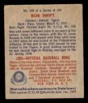 1949 Bowman #148  Bob Swift  Back Thumbnail