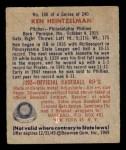 1949 Bowman #108  Ken Heintzelman  Back Thumbnail