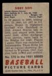 1951 Bowman #170  Sibby Sisti  Back Thumbnail