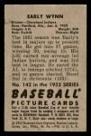 1952 Bowman #142  Early Wynn  Back Thumbnail