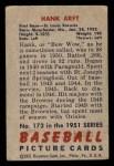 1951 Bowman #173  Hank Arft  Back Thumbnail