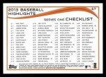 2014 Topps #47   -  Chris Davis Checklist 1 - Baseball Highlights Back Thumbnail