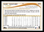 2014 Topps #634  Gaby Sanchez  Back Thumbnail