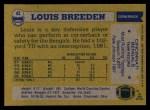 1982 Topps #42  Louis Breeden  Back Thumbnail