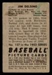 1952 Bowman #157  Jim Delsing  Back Thumbnail