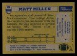 1982 Topps #196  Matt Millen  Back Thumbnail