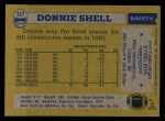1982 Topps #217  Donnie Shell  Back Thumbnail