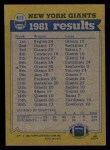1982 Topps #415   -  Rob Carpenter / Beasley Reece / Johnny Perkins / George Martin Giants Leaders Back Thumbnail